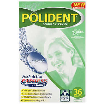 Polident Denture Cleanser Fresh Active Express Tablets 36