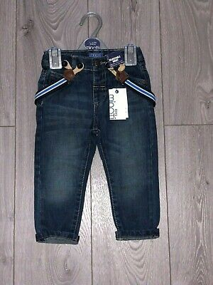 New Boys Infant Minoti Blue Denim Turn Up Jeans With Attached Braces 1-4 Years