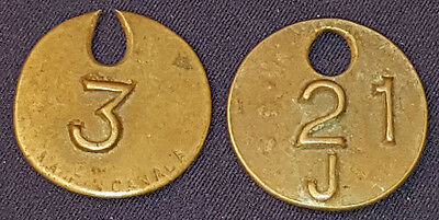 """ANTIQUE - BRASS - MEDALLION (2) - MADE IN CANADA - """"3"""" and """"21 J"""" - ORIGINAL"""