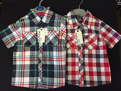 Baby / Boys Infant Minoti Red Or Blue Multi Smart Cotton Checked Shirt 1-4 Years
