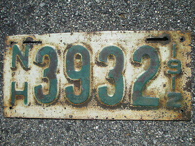 1912 New Hampshire  License Plate     # 3932
