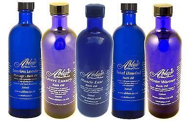 Abluo Luxury Bath Oil 200ml Aromatherapy Pure Essential Oils Muscle Ease Unwind