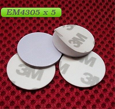 RFID EM4305 125KHZ X 5 (Pack of 5)  key Rewritable 3M coin read write