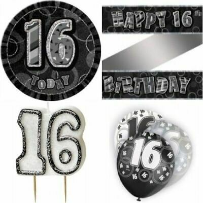 Age 1616th Birthday Party Banner/Balloons/Badge/Candle/Confetti Black/Silver
