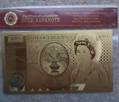 Gold Bank Note , 24 Carat Gold £50.00 Note