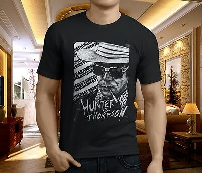 HUNTER S THOMPSON FEAR AND LOATHING Johnny Depp Men's Black T-Shirt Size S-3XL