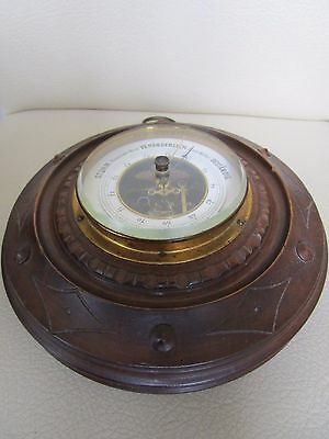 Antique c.1900 German Handcarved Wood & Brass Barometer 7""