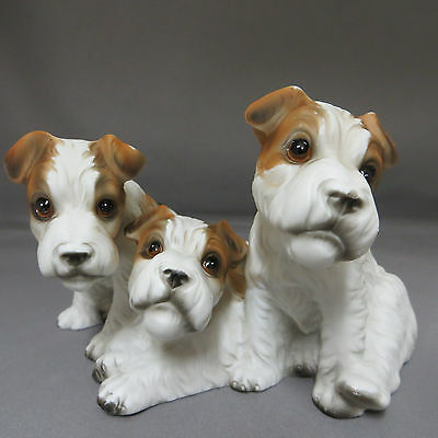 Triplet Wire Hair Fox Terrier Puppies Dog Figurine Japan Royal Crown Puppy
