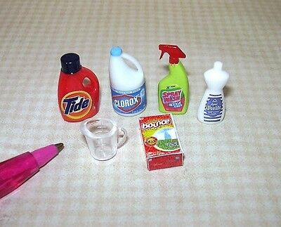 Miniature Laundry Wash Day Assortment (6 Items): DOLLHOUSE Miniaures 1/12 Scale