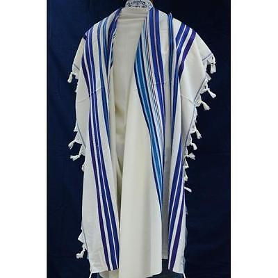 "Jewish Tallit Prayer Shawl Kosher talit 100% Pure Wool 55x75"" #60 blue colors"