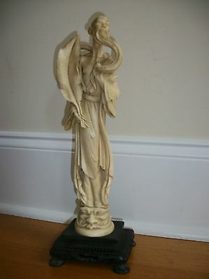 Chinese oriental faux Bone Carved Carving Figurine Figure Men monk