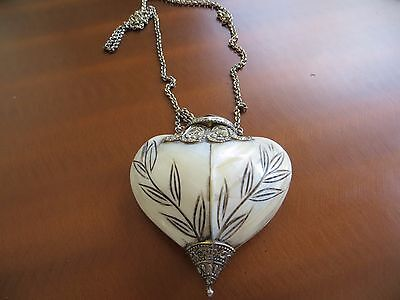 1900s Antique French Mother of Pearl shell box thimble etui needle case necklace
