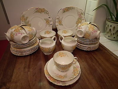 Sutherland H&M China C1950 Pattern 2512 Yellow Floral 39 Piece Teaset