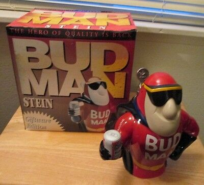 "RARE EUC 1993 Budweiser Bud Man Giftware Edition Stein ""Hero of Quality"""
