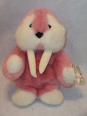 "Gund MOOKY THE WALRUS Plush Toy Lrg 11"" Tall Version Pink & White 1986 Korea K3"