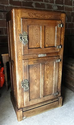 "Go to noAntique Oak Ice Box ""Alaska"" large with 2 doors, good condition"