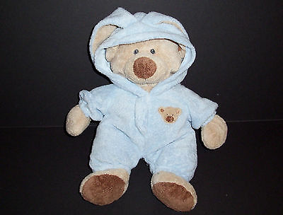"""12"""" Ty Pluffies Blue Bear Plush Bunny Love To Baby NON Removable PJs 2007"""