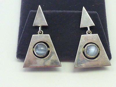 RARE Antonio Pineda Moonstone Sterling Silver Earrings Convereted to Pierced