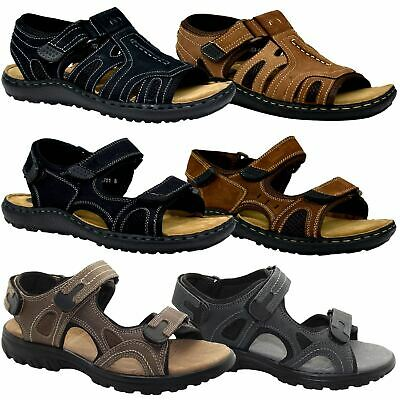 Mens Summer Leather Sports Sandals Hiking Trekking Trail Sandals Walking Shoe