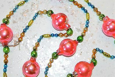Antique Vintage Mercury Glass Christmas Tree Garland Large Pink Beads & Shapes