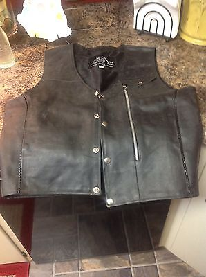 Men's Motorcycle Sons Of Anarchy Blk Leather Vest W/gun Cell Glasses Pockets