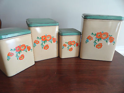 HALL ORANGE POPPY Set of Four Vintage Metal Square Canisters