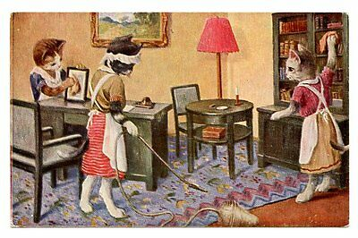 vintage cat postcard dressed maid cats clean dust vacuum house CAT CHARITY