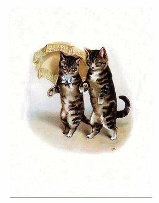 modern cat postcard Maguire tabby cats couple stroll w parasol CAT CHARITY