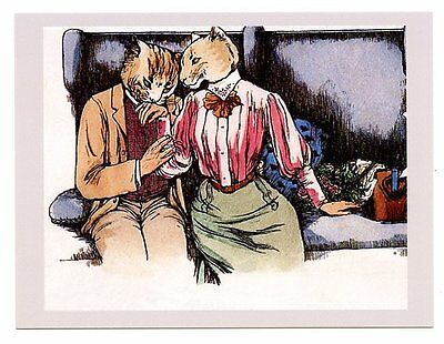 modern cat postcard dressed cats train gentleman kisses lady's hand CAT CHARITY