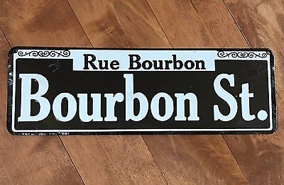 Rue Bourbon Street Sign New Orleans - New Reproduction Decor Mardi Gras Party