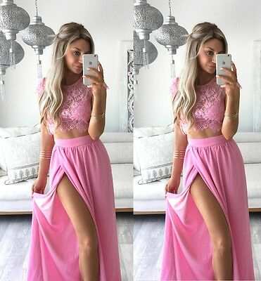 Lace Pink Two Pieces Custom Made Wedding Party Gown Handmade Prom Evening Dress