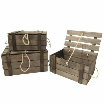 3pc Nested Rustic Wooden Box/Crates w/ Rope Vintage Style Storage/Home Decor