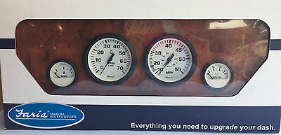 Faria Euro White Style 4 Gauge Outboard Motor Set KT9795 Fuel Volt Tach Speed