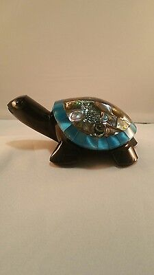 Blue SEA TURTLE vtg obsidian gemstone abalone shell mexican paperweight art