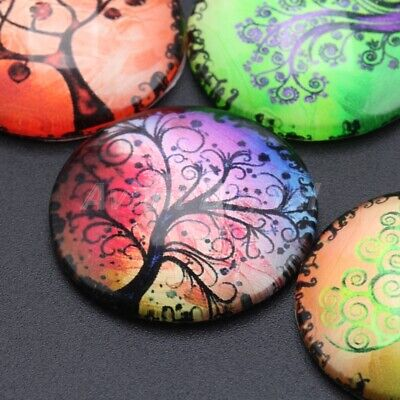 """10pcs 26 Type Images DIY Jewelry Craft Use Round Vogue Glass Cabochon 0.98"""" Dia"""