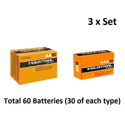 30 x AA & AAA Duracell Industrial Alkaline 1.5v  Multi Batteries for Electronics