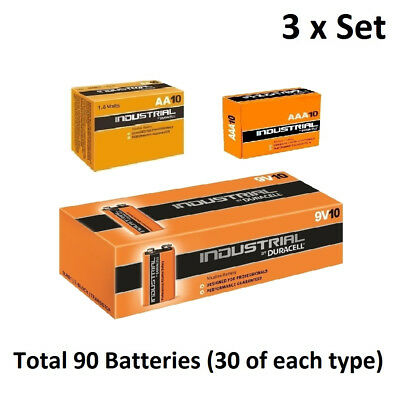30 x AA / AAA / 9V Duracell Industrial Alkaline Multi Batteries for Electronics