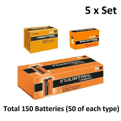 50 x AA / AAA / 9V Duracell Industrial Alkaline Multi Batteries for Electronics