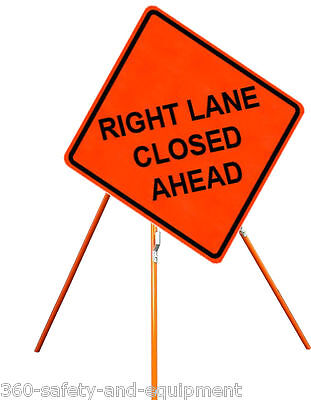 """Right Lane Closed Ahead 48"""" X 48"""" Vinyl Fluorescent Roll Up Sign & Tripod Stand"""