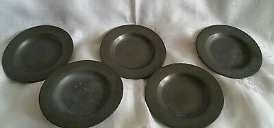 5 x Antique London Pewter 15.5cm plates touchmark hall marked