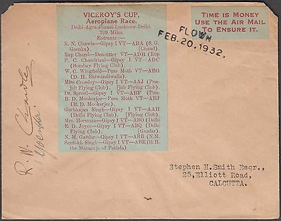 India Rare Viceroy's Cup Flown Cover With Label Smith Signed