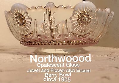 Opalescent Glass Northwood Jewel and Flower aka Encore Berry Bowl circa 1905