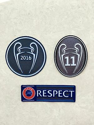 Set Of 2016 UEFA Trophy 11 Champions Respect For Real Madrid Patch Badge Parche