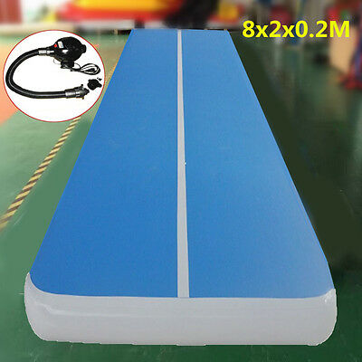 8mx2m Inflatable Gym Mat Air Tumbling Track Gymnastics Cheerleading Floor w/Pump
