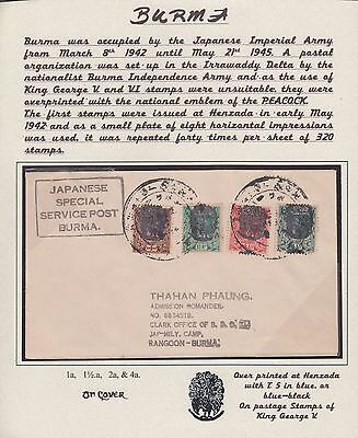 Burma Japanese Occupation Henzada Overprint 4 Values On Cover Genuine ??