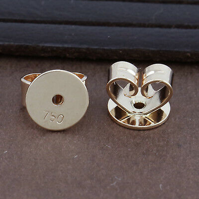 Genuine 18CT Solid Rose Gold Disc Butterfly Earring Backs 5mm - 1 Pair