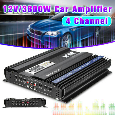 V12 705 12V RMS 4 CH Channel Car Audio Power Stereo 3800 Watt Amplifier Amp 4ohm