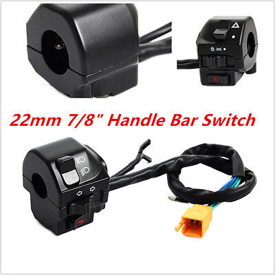 "22mm 7/8"" Motorcycle Handle Bar Headlight Turn Speaker Switch Gear Control Cafe"