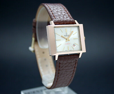New Old Stock 60s POTENS square rose gf mechanical vintage watch NOS Felsa 4025