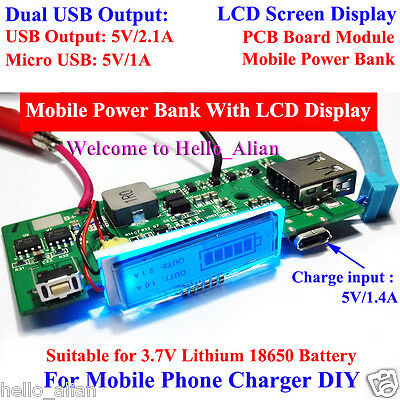 5V 2A LCD Dual USB 3.7V Lithium 18650 Battery Charger Module For DIY Power Bank